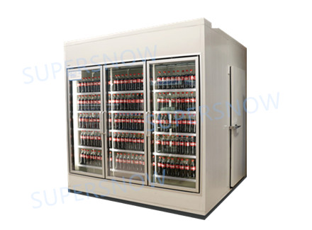 Front glass door display back load cold storage room