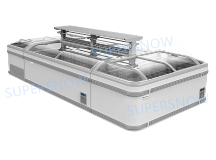 Plug-in Curved Glass Island Freezer